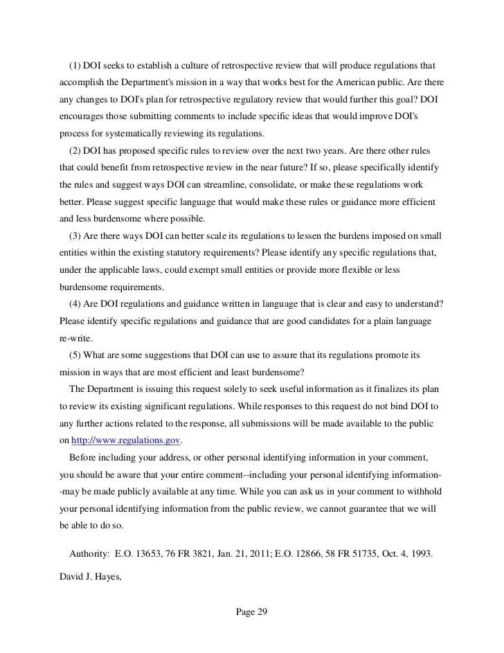 Interior Regulatory Reform Plan August 2011