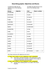 Describing graphs adjectives and nouns worksheets