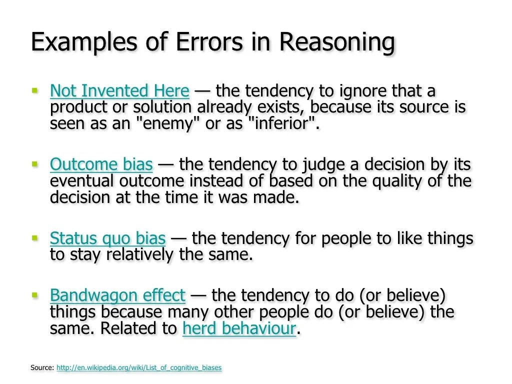 Examples of Errors in Reasoning