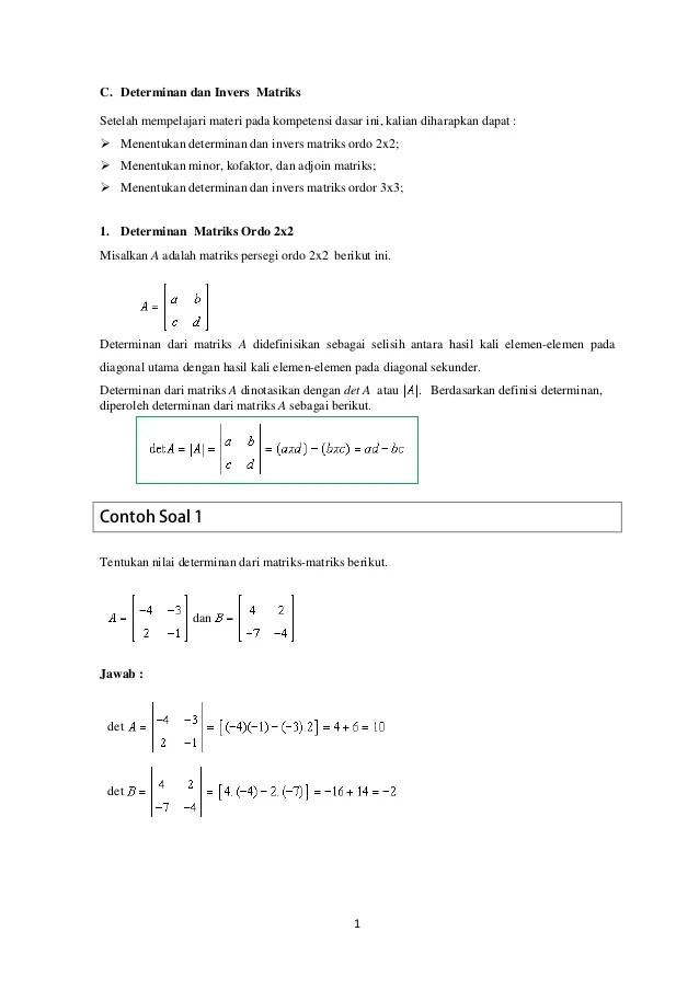 Contoh Soal Invers Matriks Ordo 2x2 : contoh, invers, matriks, Determinan, Invers, Matriks