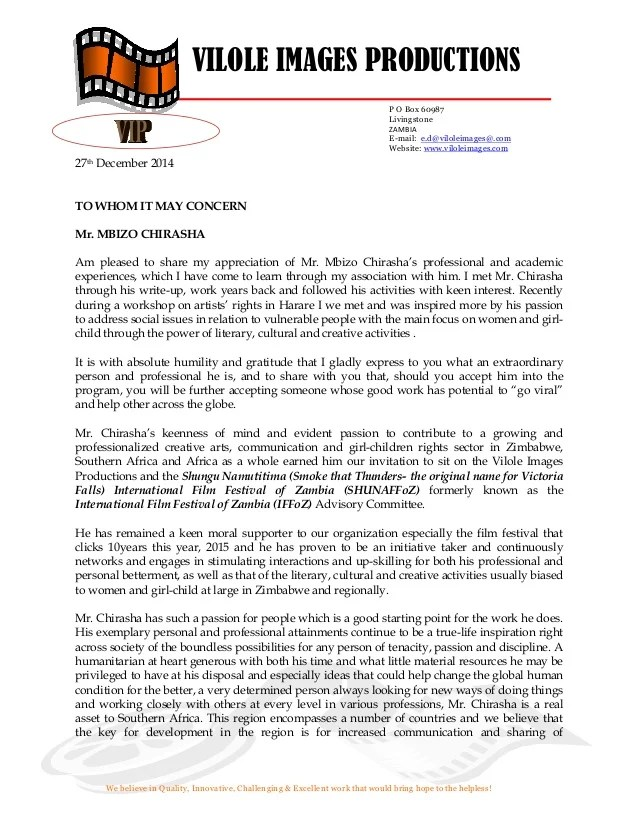 support letter for mbizo chirasha from