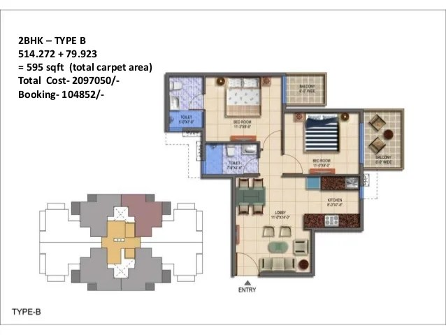 2BHK – TYPE B 514.272 + 79.923 = 595 sqft (total carpet area) Total Cost- 2097050/- Booking- 104852/-