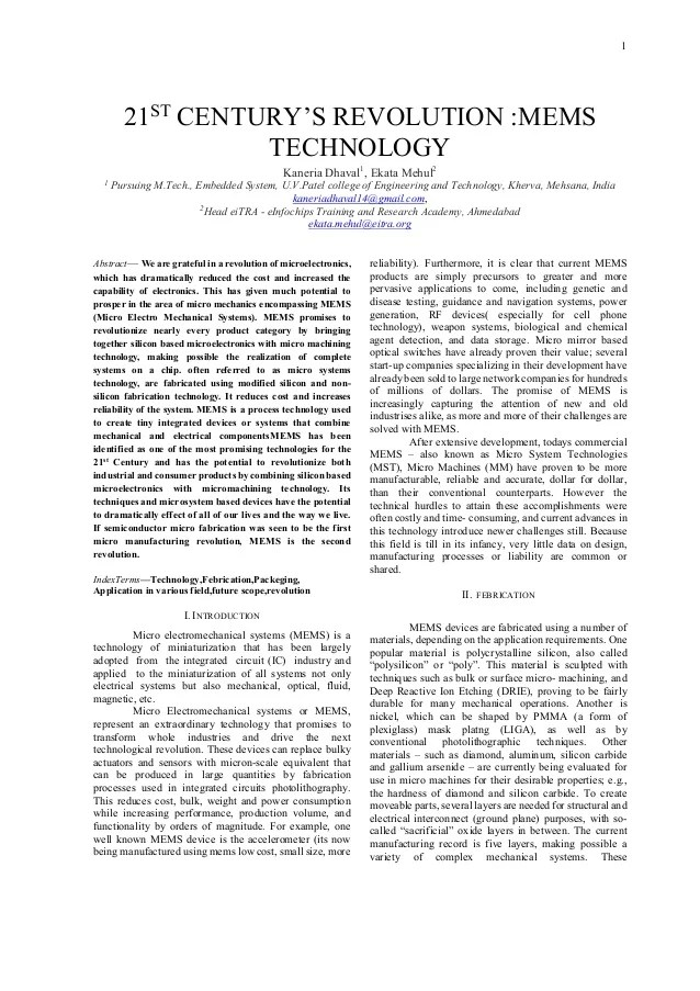 PAPER ON MEMS TECHNOLOGY