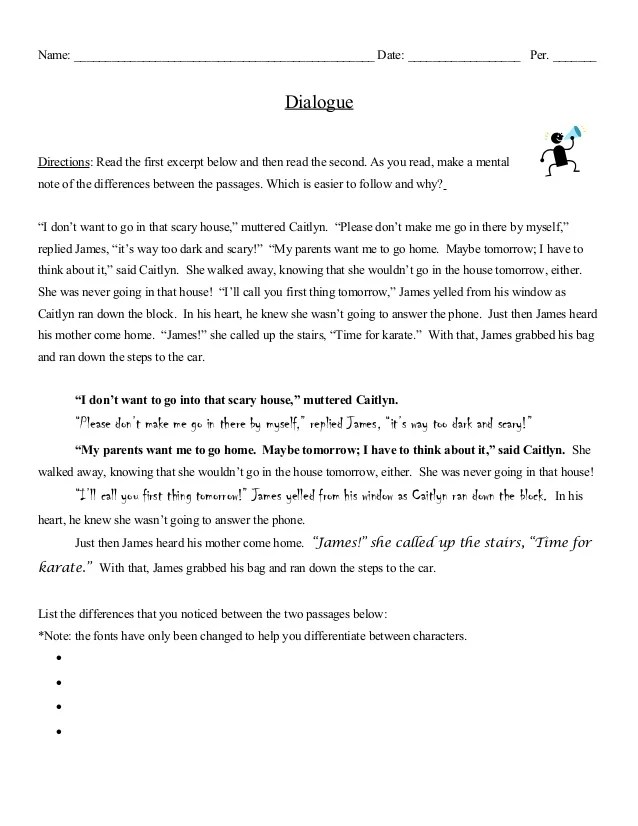 Dialogue Notes With Examples