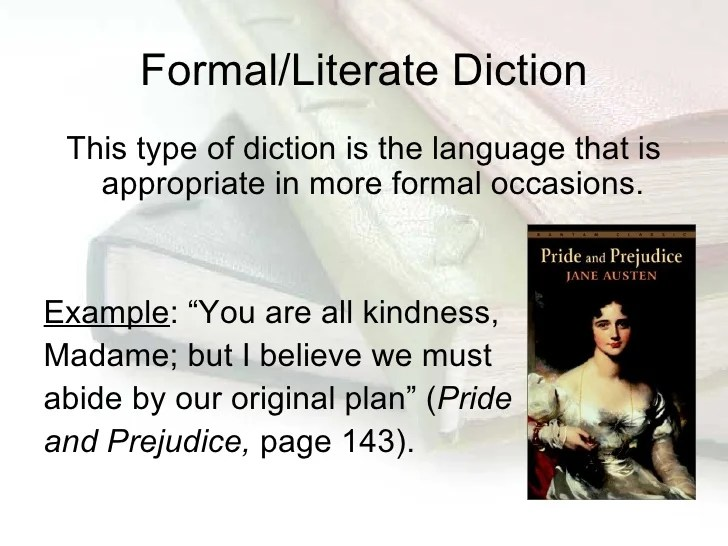Formal Diction Examples