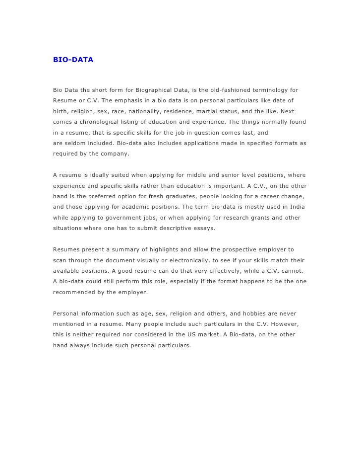 resume bio generator