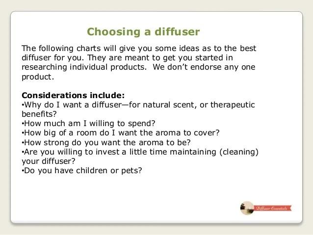 choosing  diffuser also an essential oil rh slideshare