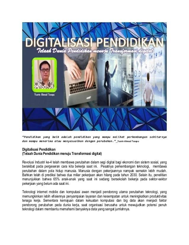 Sebutkan Dua Contoh Perubahan Pendidikan Di Era Digital Serta Dampak Perubahan Tersebut : sebutkan, contoh, perubahan, pendidikan, digital, serta, dampak, tersebut, Digitalisasi, Pendidikan, Indonesia