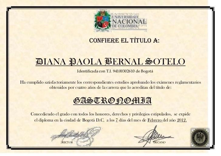 Diploma de gastronoma