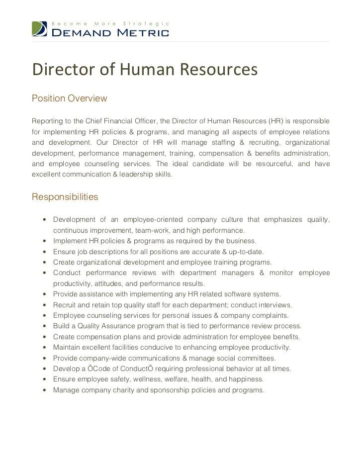 Director Of Human Resources Job Description