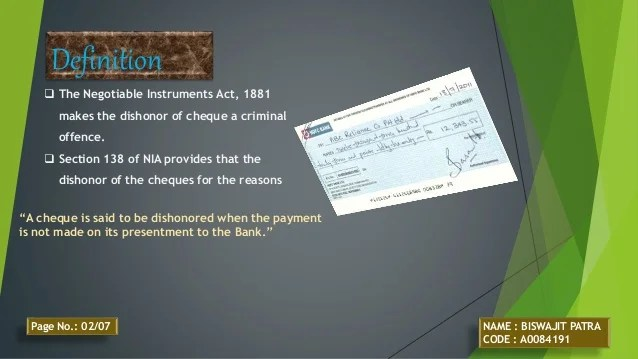 Dishonor of cheque