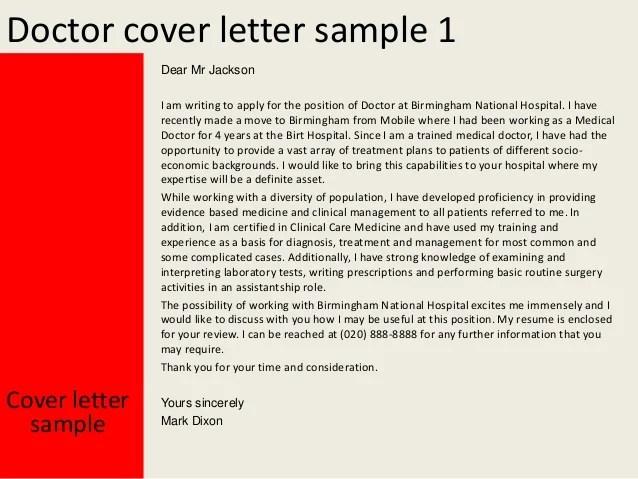 Cover Letter Job Application Doctor | Sample Customer ...