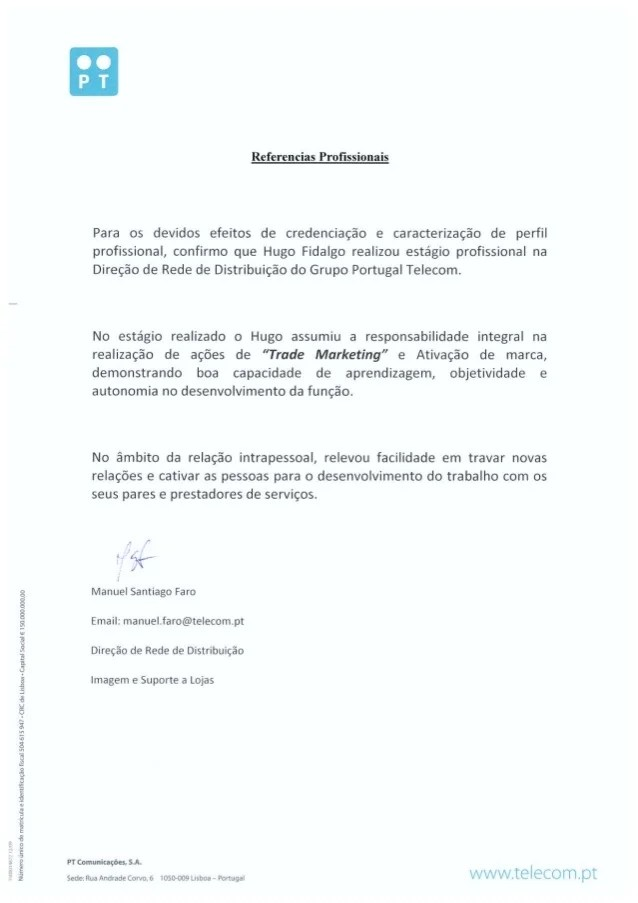 Reference Letter from Dr Manuel Faro Comercial