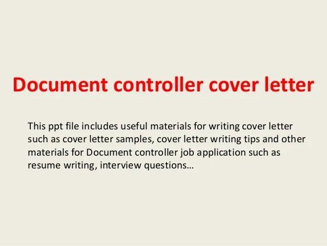 Cover Letter For Cv Document Controller | Employee ...
