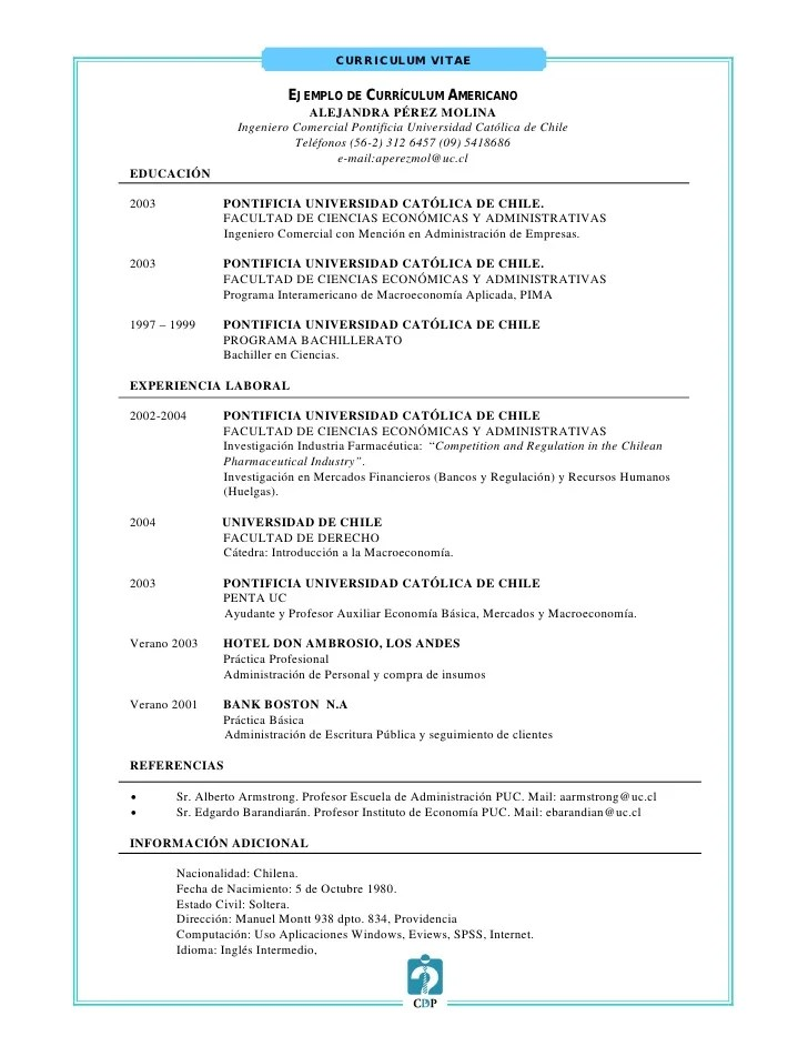 Curriculum Vitae Ejemplo Uc Sample Resume Template Pdf