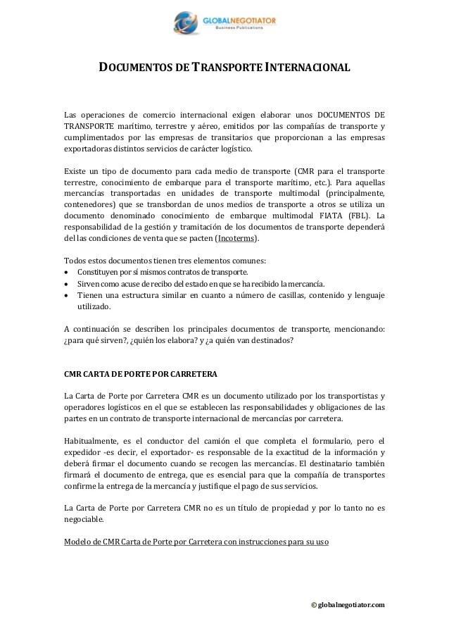 Documentos detransporteinternacional