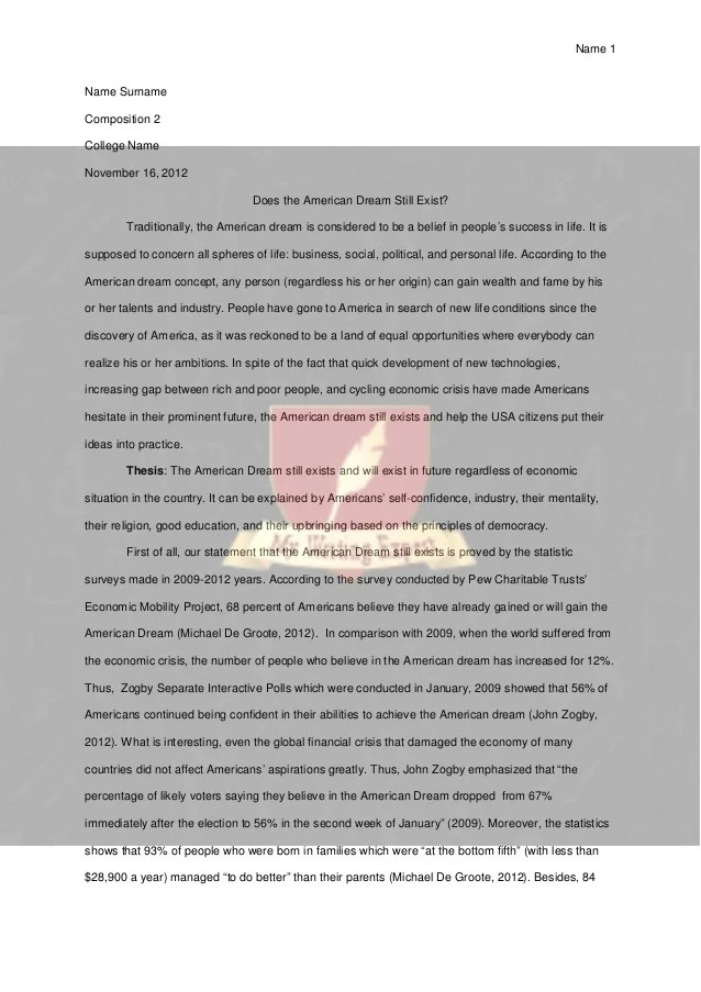 American Dream Essay Thesis Essay On American Dreams Essay Writing