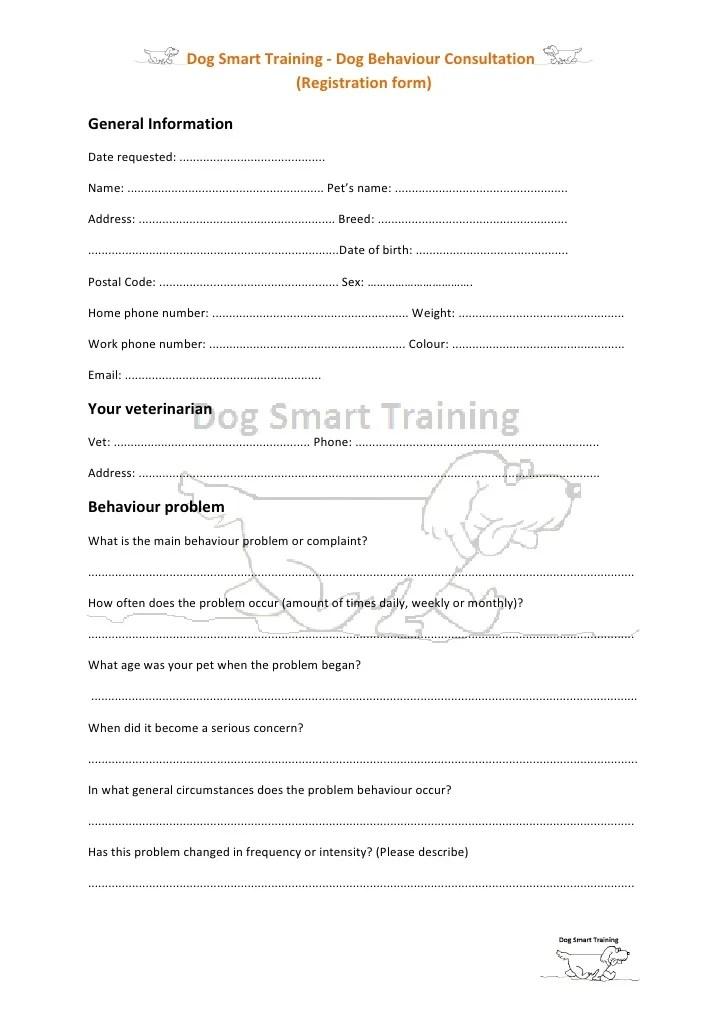 Dog Behaviour Consultation Form 1