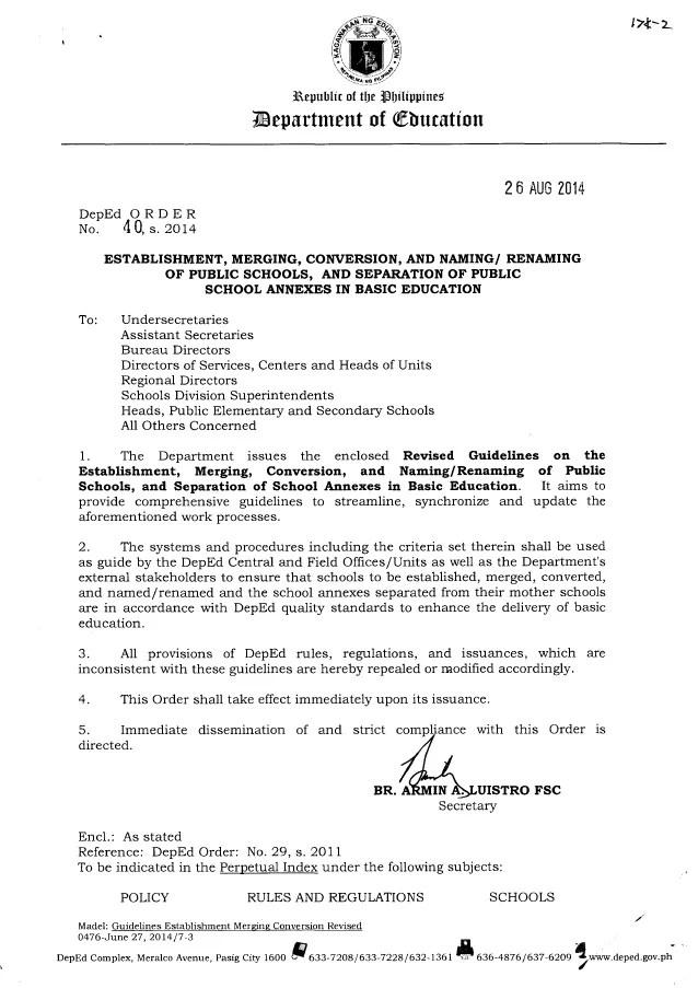 Revised Guidelines On The Establishment Merging