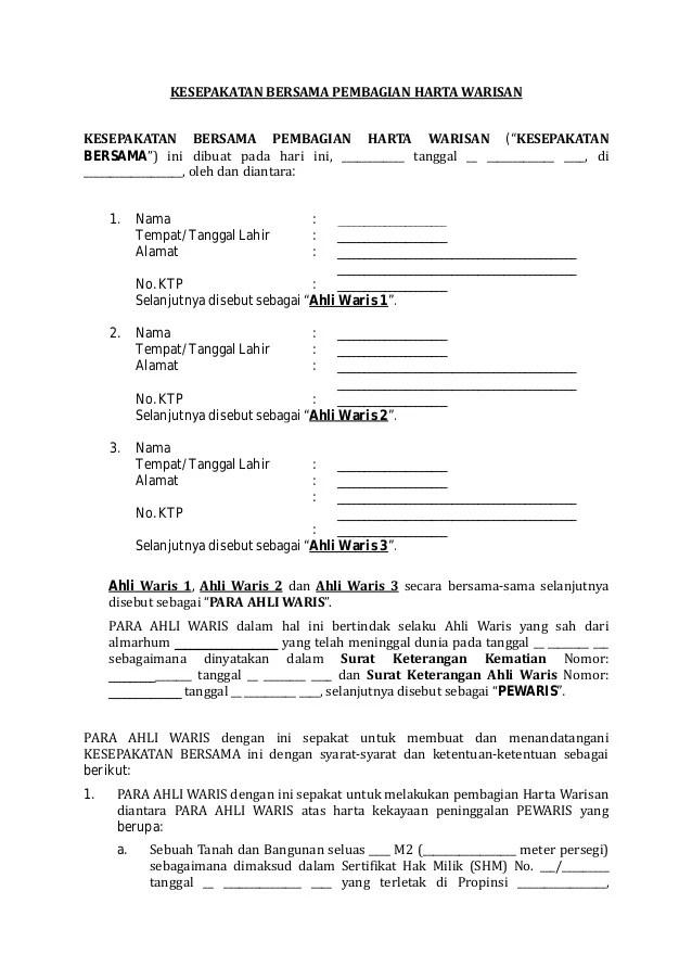Contoh Surat Pembagian Fee Tanah Backup Gambar