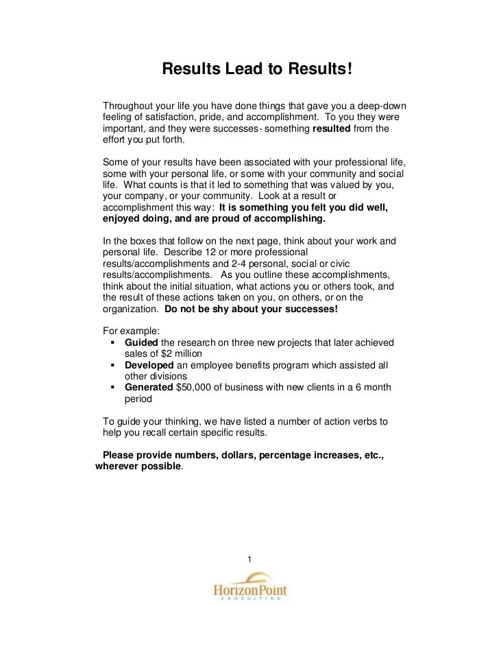 Drafting A Results Resume Guide