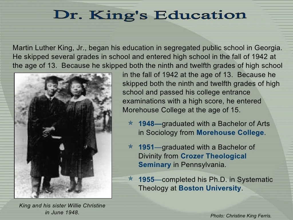 Dr King S Education Martin Luther