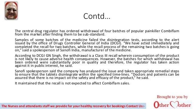 Drug watchdog recalls 4 sets of `sub standard' combiflam