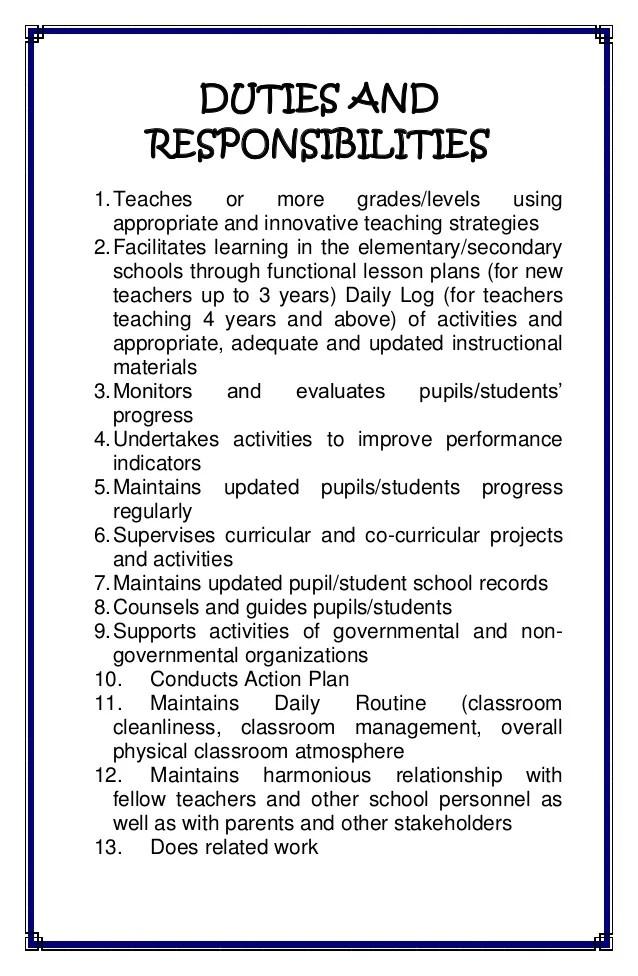 Teacher Responsibilities For Resume