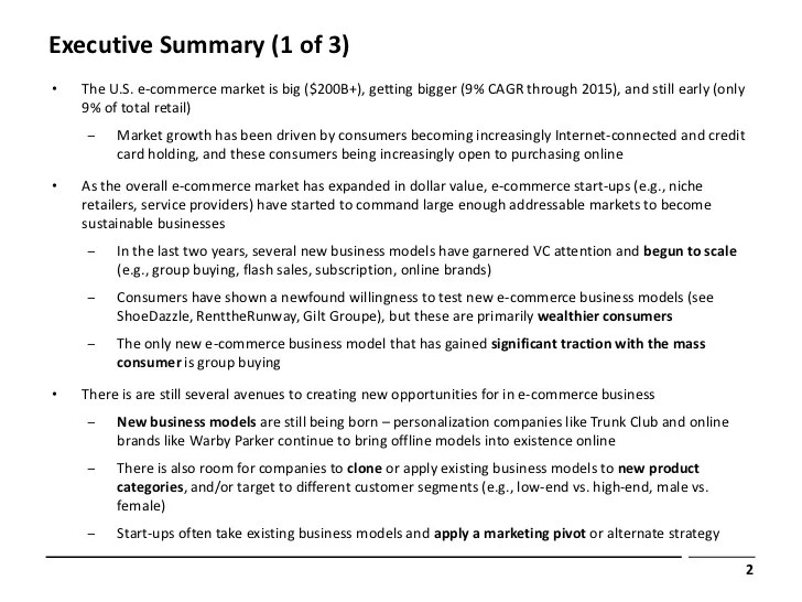 Executive Summary 1 Of 3 •