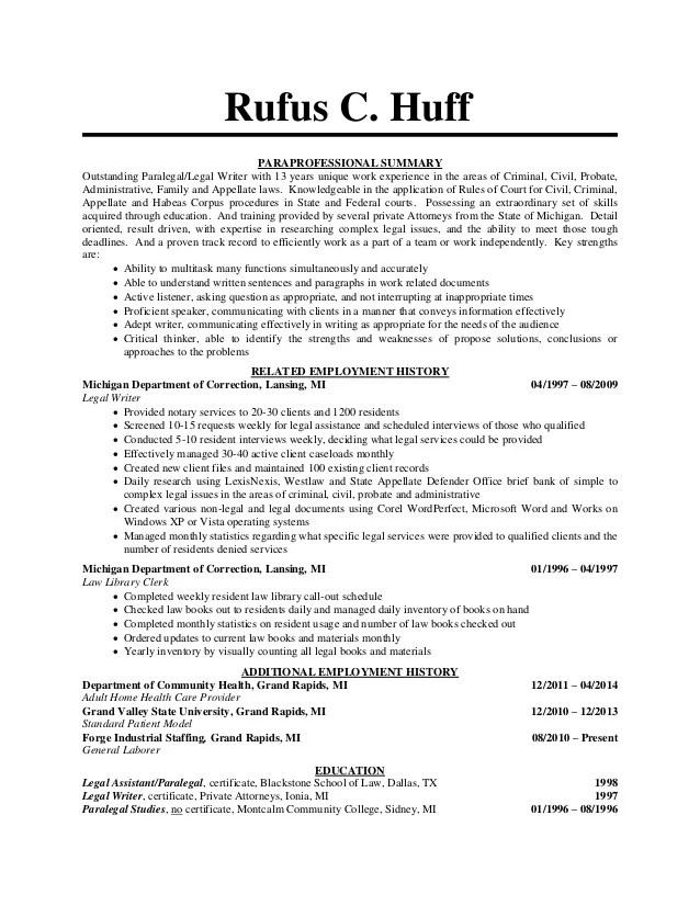 Paralegal Resume Paralegal Resume Sample Writing Guide Resume