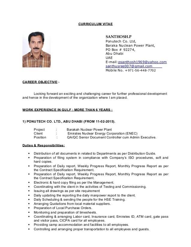 CV Of QA QC Senior Document Controller Cum Admin Executive