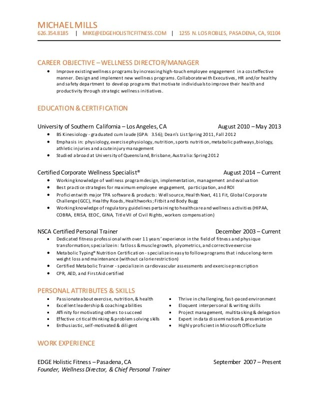 Wellness Director Resume B7