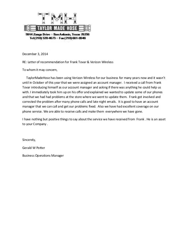 Taylor MadeReferral Letter Frank Tovar San Antonio Verizon Business
