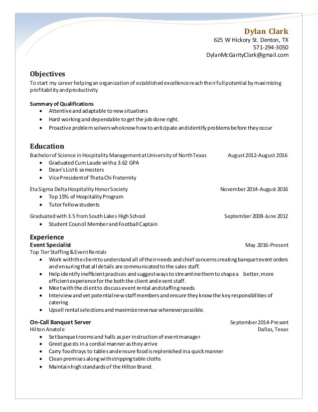 Sales & Catering Coordinator Resume