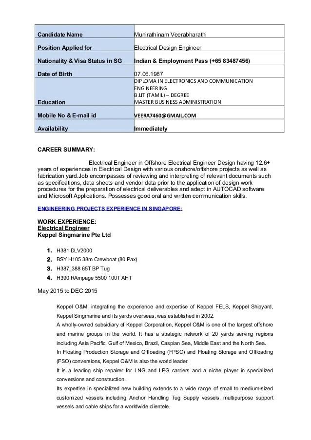 resume in bio data