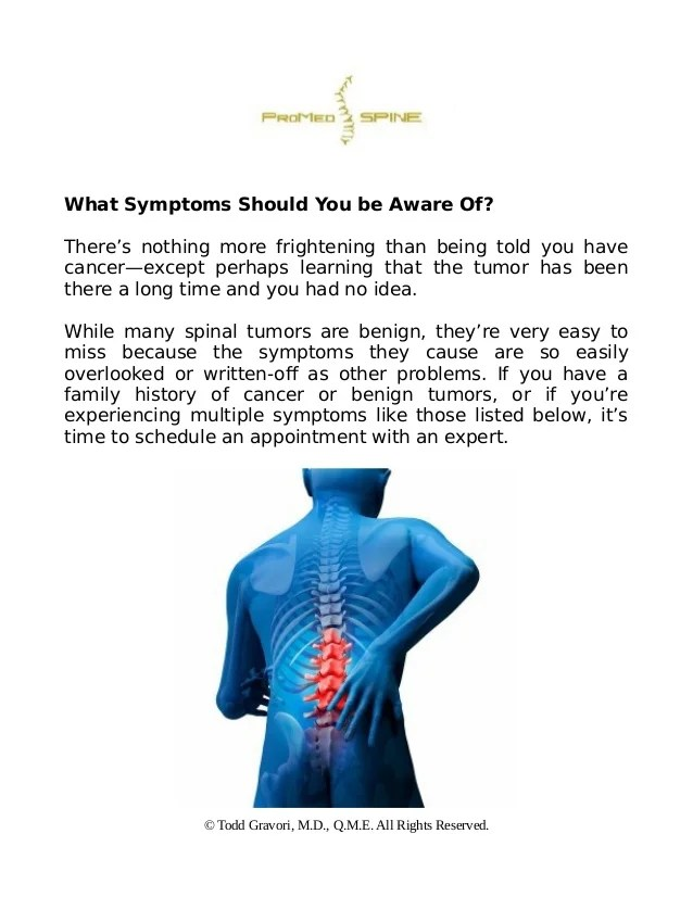 Early warning signs of spinal tumors and what to do next