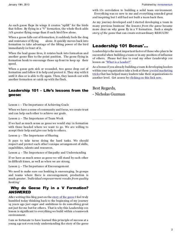 Leadership 101 Story Of The Geese Why Geese Fly In A V