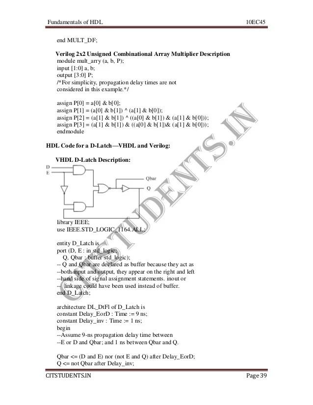 Ece iv-fundamentals of hdl [10 ec45]-notes