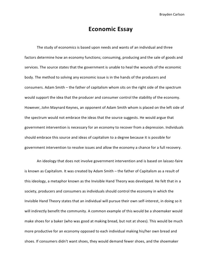 Essay For Economics Economic Essay Economics Essay Technique