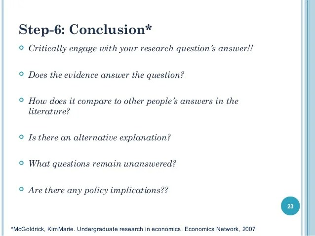 Introduction To Writing An Undergraduate Economics Research Paper By