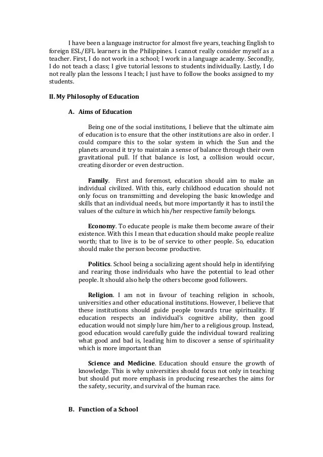 Essay On Philosophy Of Education Philosophy Of Education Essay Co My
