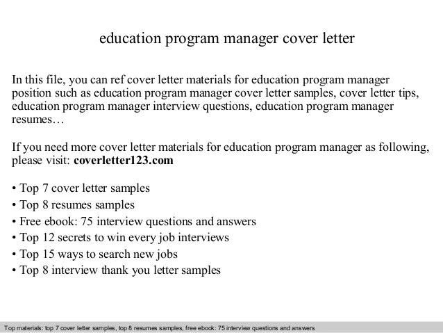 Education Program Manager Cover Letter