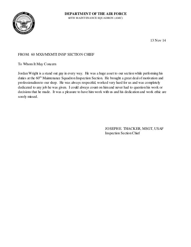 Wright Letter Of Recommendation