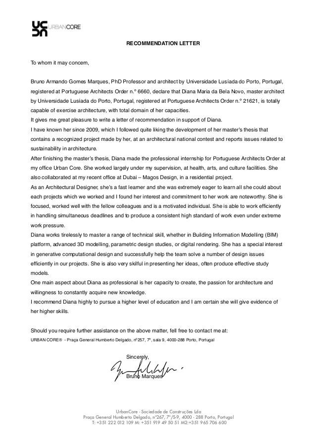 architect recommendation letter