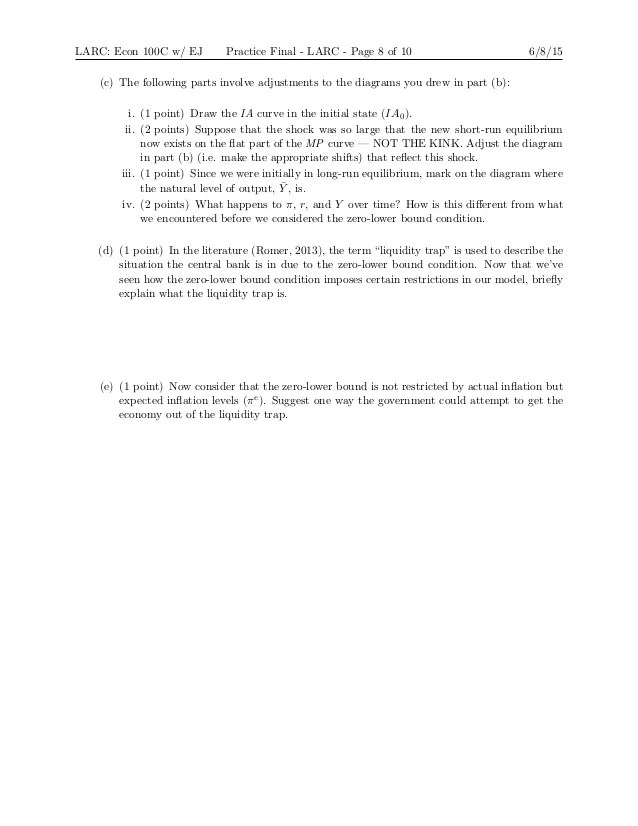 Diagram Of Liquidity Trap Larc Econ 100c Practice Test