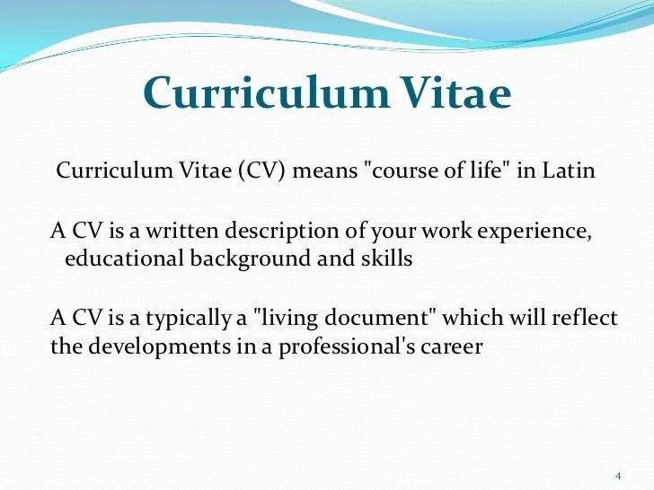 Curriculum VitaeCurriculum Vitae CV Means