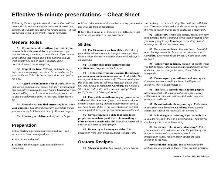 15 minute presentation