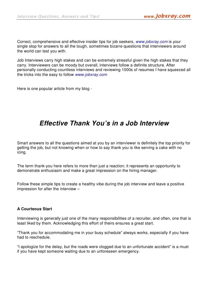 interview thank yous