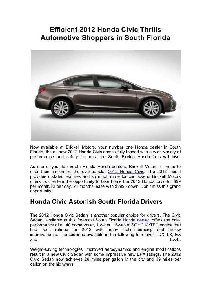 2012 Honda Civic Mods : honda, civic, Efficient, Honda, Civic, Thrills, Automotive, Shoppers, South, Flori…