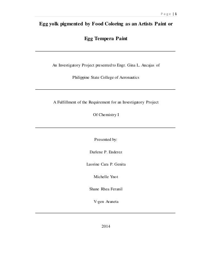 Egg Tempera Paint Investigatory Project